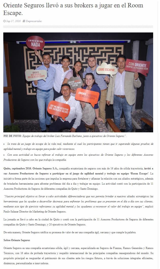 Oriente seguros en Quito lleva de team building a sus empleados a Room Escape Ecuador