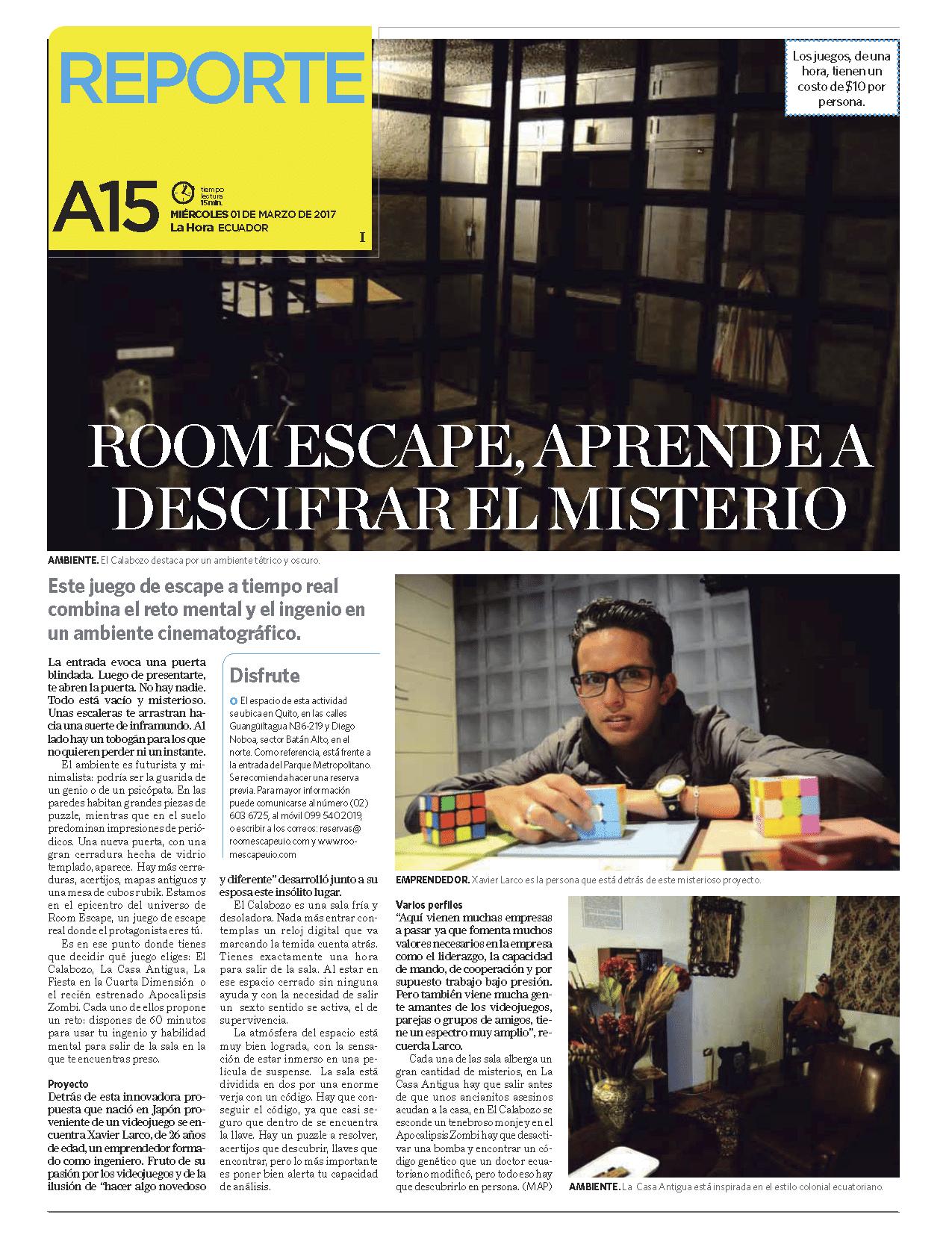 Diario La Hora hace un reportaje a Room Escape Ecuador