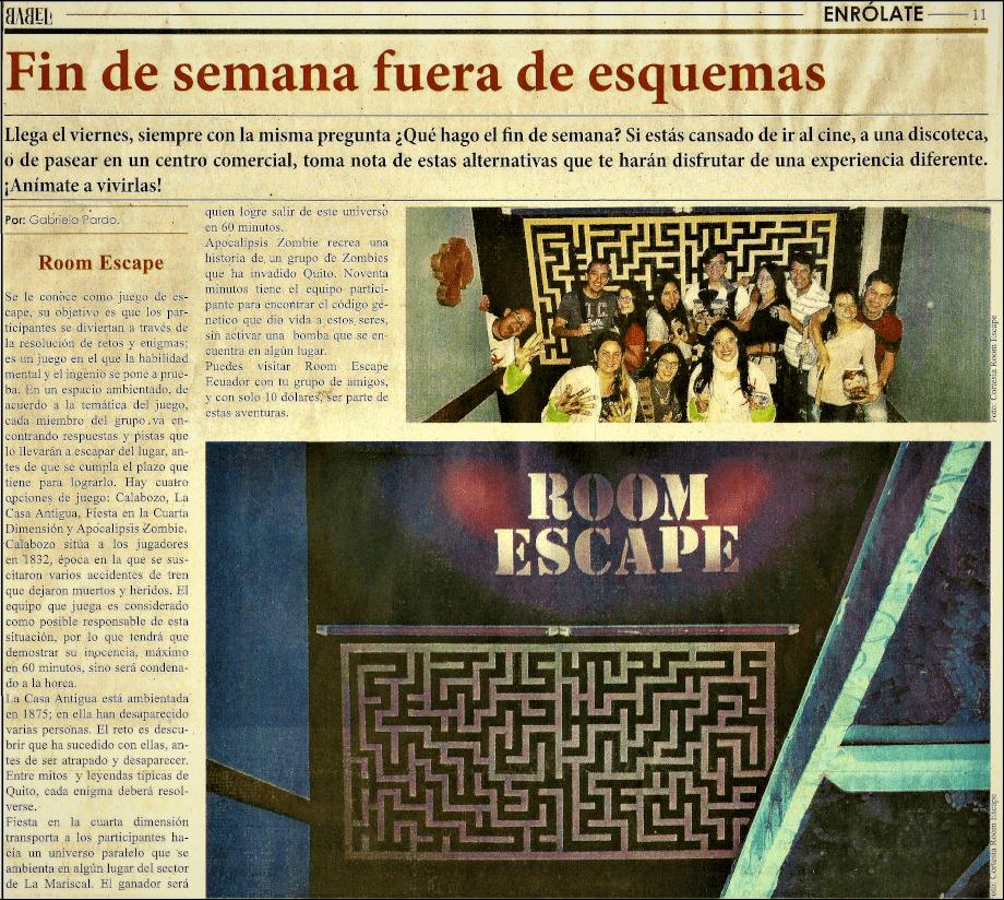 Fin de semana fuera de esquemas en Room Escape Ecuador